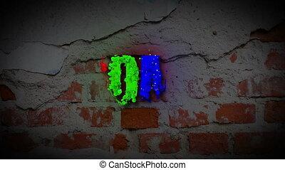 HOME word revealing on a dark brick wall