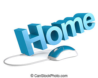 Home word with blue mouse