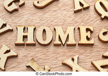 Home word wooden letters