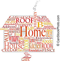 Home words - Editable vector illustration of a house made...