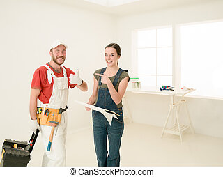 home work professionals - woman client and contractor...