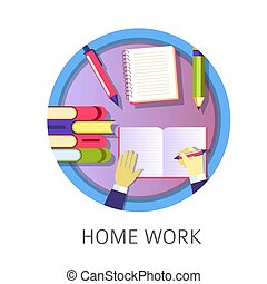 Home work student writing in textbook, studying from books