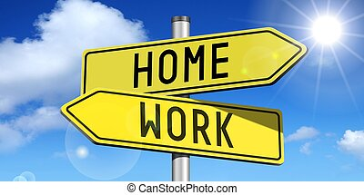 Home, work - yellow road-sign