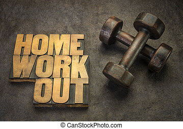 home workout and fitness concept with dumbbells