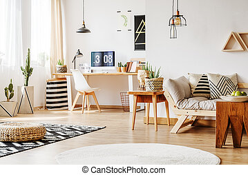 Home workspace with wooden furniture - Interior design idea...