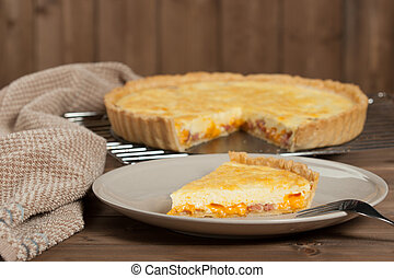 Homebaked Quiche Lorraine With Red Leicester Cheese....
