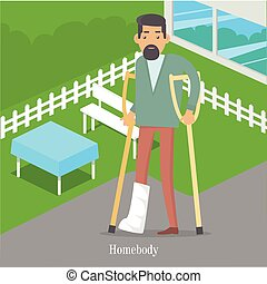 Homebody on Crutches with Broken Leg Walking