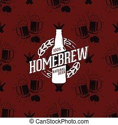 Homebrew logo on seamless pattern clinking glasses of beer, vector illustration