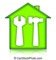 Green house with wrench and hammer illustration isolated over white background