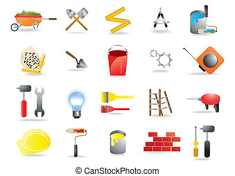 homebuilding-renovating - Vector icons representing...