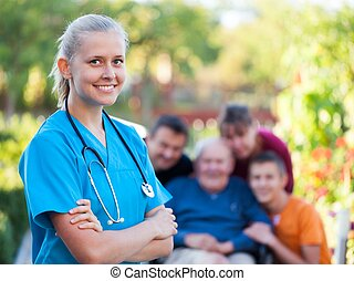 Homecare - Young confident doctor at the nursing home.