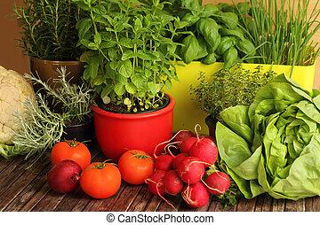 homegrown, örtar, och, grönsaken