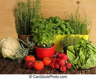 homegrown, erbe, e, verdura