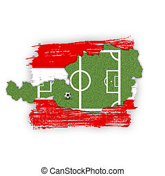 A Soccer/Football illustration: A soccer field (football field) shown as silhouette map of Austria with flag colours brush strokes in the background.
