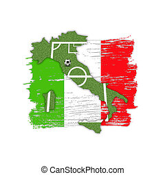 A Soccer/Football illustration: A soccer field (football field) shown as silhouette map of Italy with flag colours brush strokes in the background.