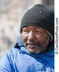 Homeless african american man