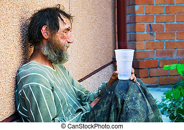Homeless alcoholic in depression