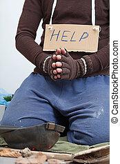 Homeless asking for money on the street