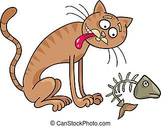 Homeless cat - Cartoon illustration of homeless cat