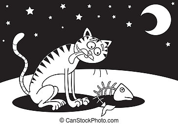 Homeless cat for coloring book - Cartoon illustration of...
