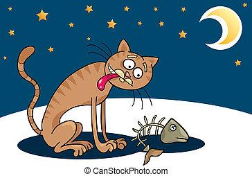Homeless cat - Cartoon illustration of hungry homeless cat