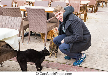 Homeless cat, pet and animals concept - Man stroking cats