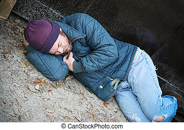 Homeless Cold and Alone - Homeless man cold and along trying...
