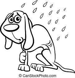 Cartoon Sad Homeless Stray Dog Cartoon Vector Illustration Of Poor