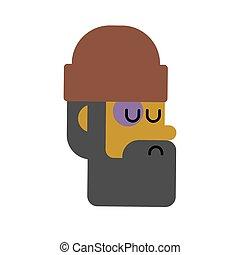 Homeless face. Beggars head, Poor portrait. bum hobo Vector...