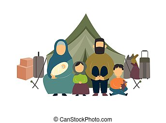 Homeless family of parents and kids sitting near luggage and tent in a refugee camp. Refugee family sits by the tent, isolated flat vector illustration.