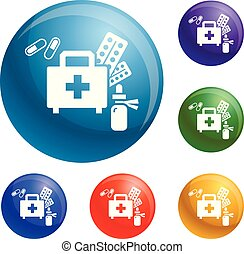 Homeless first aid kit icons set vector 6 color isolated on white background
