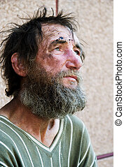 Homeless in despair - Despair of homeless tramp.