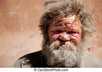 homeless life - hobo with gore, selective focus on face, ...