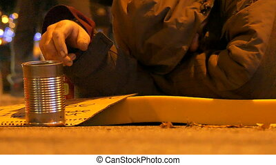 Homeless male sleeping night street - Concept poverty man...