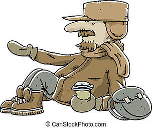 Homeless Man - A cartoon homeless man begging for spare...