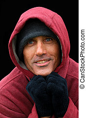Homeless Man - A Portrait of Hope - Homeless Man in The Red...