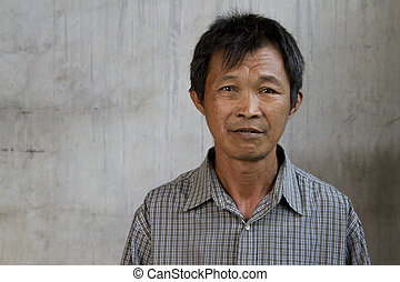 Asian homeless asian guy with grunge background