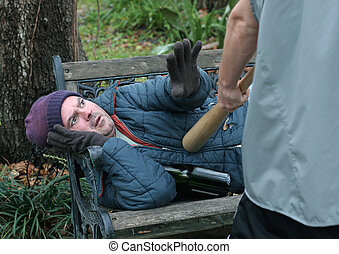 Homeless Man - Defensive Posture