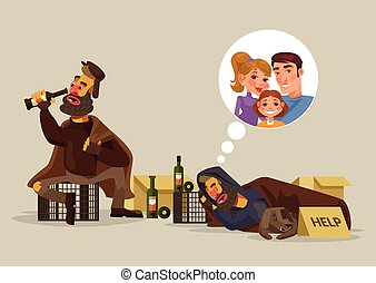 Homeless man dreams of family. Vector flat cartoon...