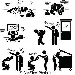 Homeless Man Family Beggar Jobless - A set of pictograms ...