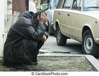 Homeless man - Homeless beggar in depression