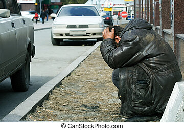 Homeless man in despair
