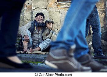 Homeless man in the street