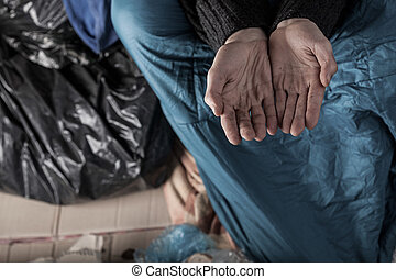 Homeless man needs money