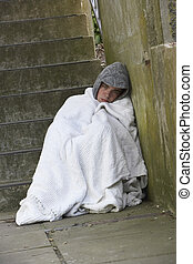 Homeless Man Sleeping Rough