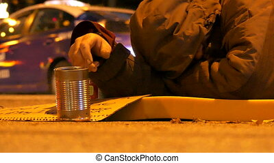 Homeless man sleeping street
