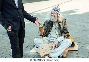 Homeless man smiling feeling thankful for help - Thankful...