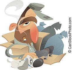 Homeless man with dog in a carton n - Cartoon homeless man ...
