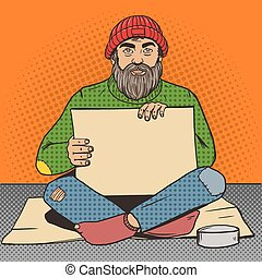Homeless man with paper sign pop art vector - Homeless man...