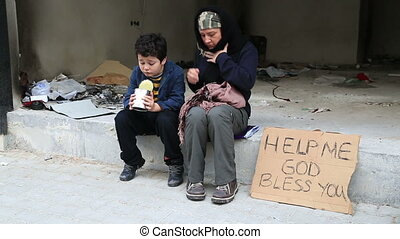 Homeless mother with her son